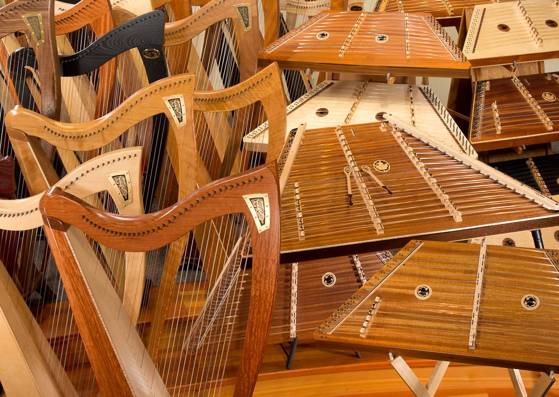 Sea of celtic harps and hammered dulcimers manufactured by Dusty Strings of Seattle, USA