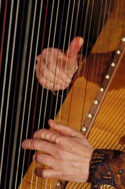 Correct left and right hand position on the harp